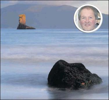 The sea stack off Dun Sion beach in Dingle (Micheal O Muircheartaigh country) as captured by the lens of John Hooton (inset) .