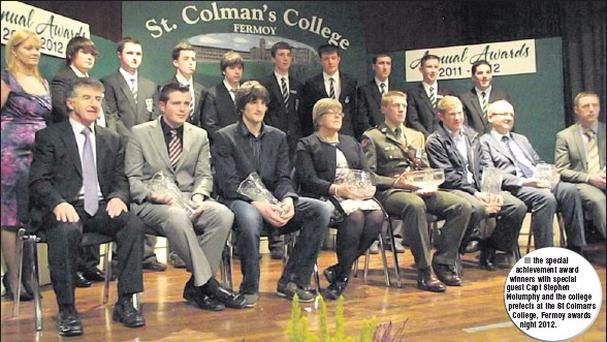 the special achievement award winners with special guest Capt Stephen Molumphy and the college prefects at the St Colman's College, Fermoy awards night 2012.