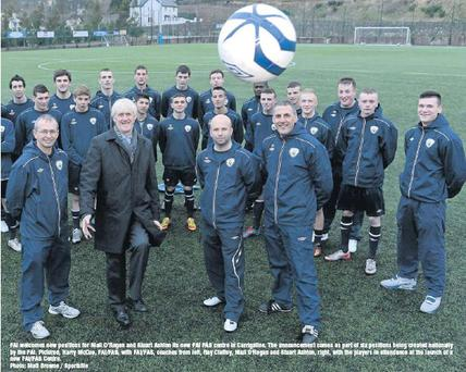 FAI welcomes new positions for Niall O'Regan and Stuart Ashton its new FAI FÁS centre in Carrigaline. The announcement comes as part of six positions being created nationally by the FAI. Pictured, Harry McCue, FAI/FAS, with FAI/FAS, coaches from left,...