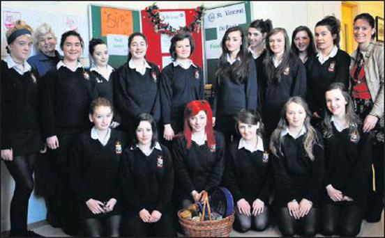 Transition Year students from St. Mary's School who organised a Food Appeal for the local SVP pictured with their teachers Eileen Murphy and Margaret O' Donovan. Credit: Photo courtesy of St Mary's