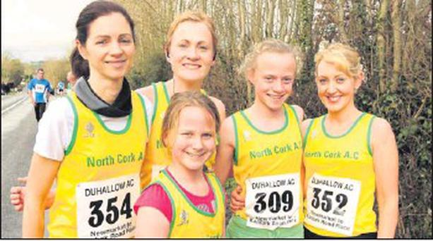 At last year's Duhallow 5km Road Race in Newmarket, North Cork AC athletes Grace Dowling, Noreen Buckley, Maria Mullins, Eimear and Megan Liinehan supported the event.