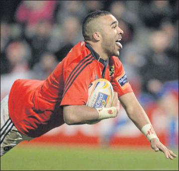 Simon Zebo, Munster, scores his side's second try against Ulster at the weekend Photo: Diarmuid Greene / Sportsfile