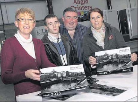Watching the calendars coming off the press at Anglo Printers were Geraldine Clarke, Dean Tuite and Linda O'Donnell of boomerangcafe.ie with Peter Kierans of Anglo Printers.