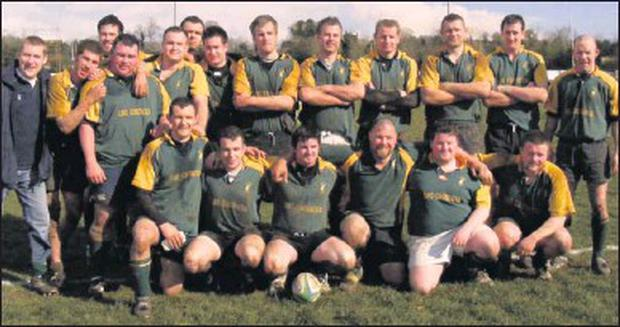 John 'Beachy' McCreanor (standing, fourth from left) with the Boyne RFC team that won the McGee Cup in 2009.