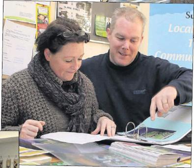 Jane Wardick-Devin and Robert Berrill in the Local Heroes office in Slane.