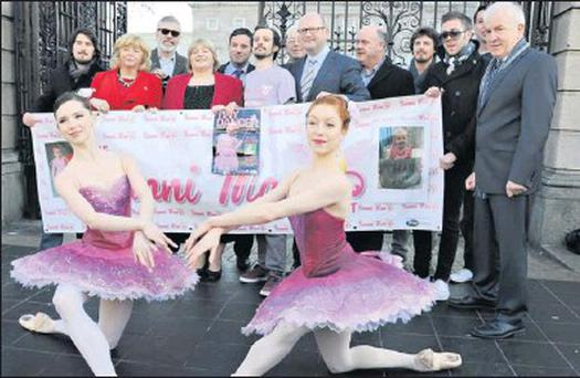 The dancers were joined by a number of politicians as they promoted 'Tiny Dancer' outside Dáil Eireann last week.