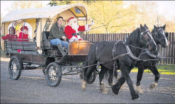 Santa arriving at the Sage&Stone Christmas Market in Duleek.