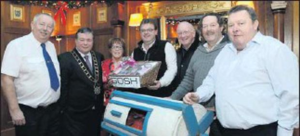 Superintendent Gerry Smith, Mayor Paul Bell, Mary Reynolds, Vice-President St Vincent de Paul, Barry McHugh, winner of Winner Takes All draw, collecting on Behalf of his wife; Michael Brogan, Area President, St Vincent de Paul; Kieron Flynn, Gosh...