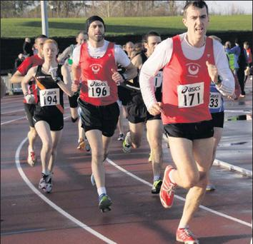 Drogheda & District pair Declan Monaghan (171) and Ian Donagh battle it out over 5k in Santry.