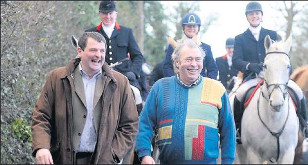 Shane McEntee shares a joke with Matty Dwyer, a lifelong supporter of the Ward Union Hunt, during the Hunt's meet at Cloughertown, Clonalvey