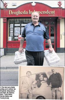 The late Larry Butler setting out to deliver the Drogheda Independent, and right; the delivery men – Larry Butler, Christy Gibney and Tommy Brady.