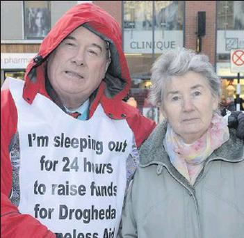 Frank Godfrey and Sister Margaret O'Sullivan, M.M.M., at the annual sleepout in aid of Drogheda Homeless Aid.