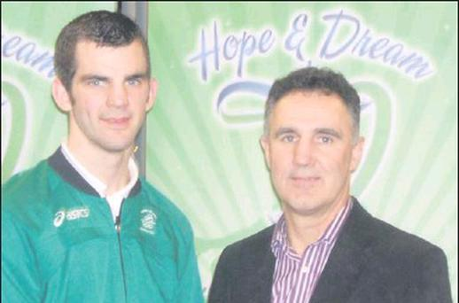 Olympics stars Adam Nolan and Billy Walsh at the launch of the Hope and Dream Run 2013 in the 1798 Centre.