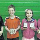At the Leinster Juvenile autumn open were (from left): Jack Nolan and Seán Dowling (Under-12 boys' doubles winners), Aime Butler and Katie Smyth (Under12 girls' doubles winners). Aime was also runner-up in the Under-12 girls' singles.