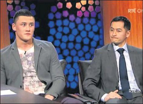Wexford GAA star Lee Chin with former Dublin footballer Jason Sherlock on the Late Late Show on Friday night.