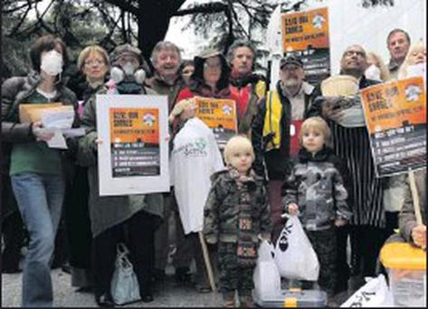 A sewage plant protest at County Hall – over 7,000 people made submissions on the sewage plant plans during the last round of public consultations.