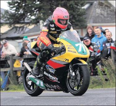 RIGHT: Davy Morgan took the Two Stroke Club's 250 Championship, and he will be in Ollie's Place next Saturday to receive his award. Davy is shown here competing at the Walderstown Races.