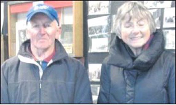 ■ Local man, Liam Heron with his third cousin Marilyn Howard O'Connell from Maryland, USA in Swords Museum.