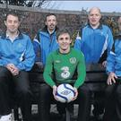 Republic of Ireland footballer Kevin Doyle with Special Olympics Ireland athletes (from left): Stuart Walsh, Paul Wallace, Clifford Keogh, Niall McConnon and Peter Kavanagh, all from Midway Services, Navan, Co. Meath.