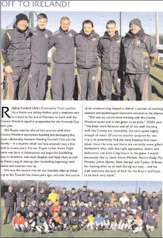 The page that appeared in the match programme for Reading v Everton. The top picture shows (from left): Manager of Wexford Kennedy Cup Under 14 side Dave Harpur; Reading Football Club Academy director Gary Webb; strength and conditioning coach Ashley...
