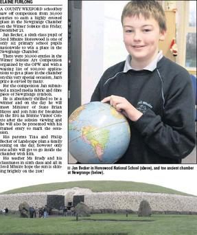 Jan Becker in Horeswood National School (above), and tne ancient chamber at Newgrange (below).