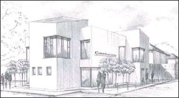 An artist's impression of the new development proposed for the site next to Gorey School of Art on the Mary Ward Lane.