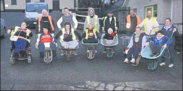 Joan Kavanagh (second left) and friends who took supported the wheelbarrow race in aid of Childline.