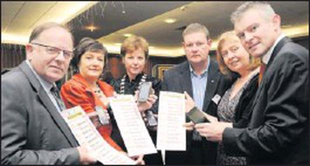 Terence Casey, Deirdre Fee, chairperson of Be Aware Prevent Suicide, Katie O'Connell, President Killarney Rotary, Tom Leslie, Killarney Rotary, Breda Joy, of Be Aware - Prevent Suicide, and Declan Fuller, Killarney Rotary, at the launch of Be Aware... Credit: Photo by Michelle Cooper Galvin