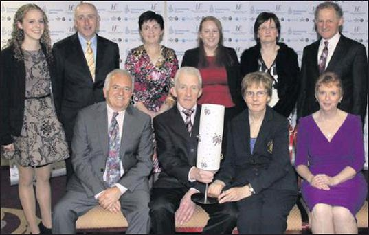At the HSE Community Games National Volunteer Awards ceremony were, front from left: Brian Hagan, Andy Keane, Margaret Culloty and Patsy O'Connell. Back, from left: Maura O'Connell, Abbeydorney/Kilflynn, Nelius Collins, Duagh/Lyre, Noreen Collins,...