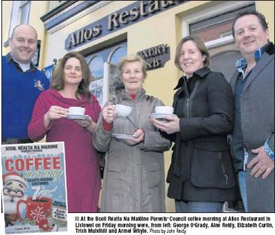 At the Scoil Réalta Na Maidine Parents' Council coffee morning at Allos Restaurant in Listowel on Friday morning were, from left: George O'Grady, Áine Reidy, Elizabeth Curtin, Trish Mulvihill and Armel Whyte. Credit: Photo by John Reidy