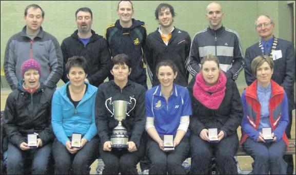 Kerry's winning Butterfield Cup team. Front row: Maria Maher (team manager), Mary Falvey, Helen Twomey (captain), Ciara O'Connor, Edel Broderick and Eileen O'Connor. Back row; Sean Murphy, Gio Gaudino, Eric Nelligan, Colm Kelly, Tom Bourke and Michael...
