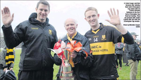 Colm Cooper and Eoin Brosnan after winning their tenth O'Donoghue Cup medal after Dr Crokes defeated Rathmore in the East Kerry O'Donoghue Cup final last Sunday. They are pictured with Jackie Looney who also won ten O'Donoghue Cup medals. Photo by...