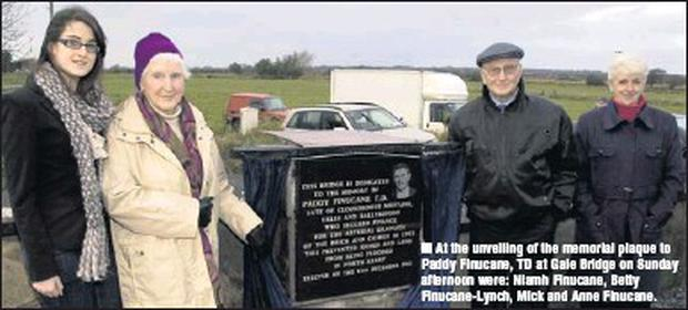 At the unveiling of the memorial plaque to Paddy Finucane, TD at Gale Bridge on Sunday afternoon were: Niamh Finucane, Betty Finucane-Lynch, Mick and Anne Finucane.