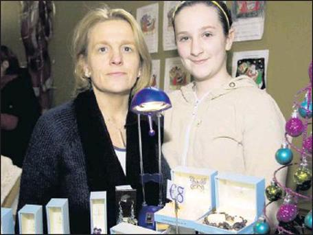Debbie and Megan McCarthy from Kilflynn at their 'Made for You' jewellery stand at the Knocknagoshel Christmas Craft Fair at the local community centre on Saturday afternoon. Credit: Photo by John Reidy