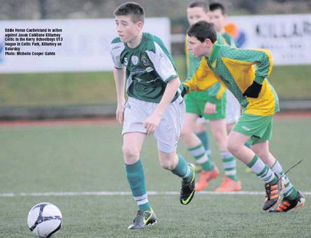 Eddie Horan Castleisland in action against Jason Cahillane KIllarney Celtic in the Kerry Schoolboys U13 league in Celtic Park, Killarney on Saturday Credit: Photo: Michelle Cooper Galvin