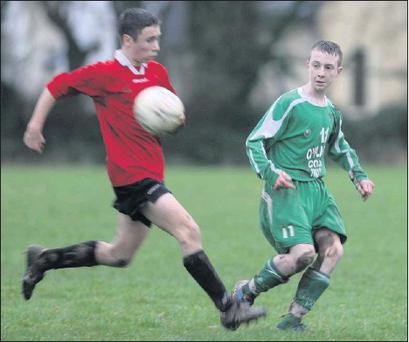 Castleisland's Seán O'Donoghue following the flight of his cross as Camp's Seán O'Hara arrives to challenge during their U-16 North League game in Castleisland on Saturday. Photo: John Reidy