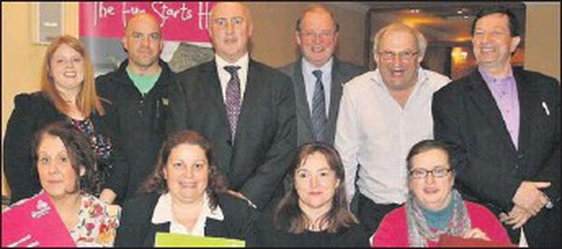 Martina Canty, Mark Murphy, Padraig O'Connor, John Griffin, Jaeici O Mhuircheartaigh & Micheal de Mordha with (front, from left) Kathleen Begley, Maryanne McGovern, Caroline Boland and Isabelle Bennett.