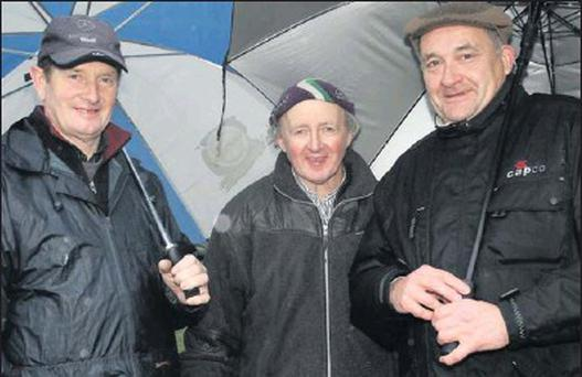 Paddy Keeley, Ned Freeman and Pat Corcoran braving the elements in Lingstown.