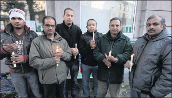 Indian Association of Sligo members, Lijo James, Chinnipa Reddy, Luis Esteves, Ninan Thomas, Antony Lobo and Sonal Nair at the recent vigil for Savita Halappanavar