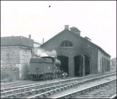 The former engine shed and water tower at Sligo station