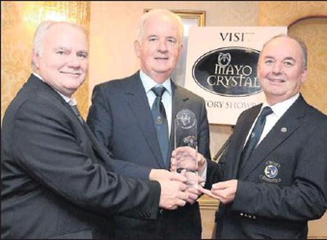 Pictured at the Connacht GUI Annual Delegates meeting were: Martin Lawless (Mayo Crystal MD - Sponsor), Best Course of the Year; Pat Collins (Captain Strandhill Golf Club), and Michael Connaughton (Connacht GUI Chairman).