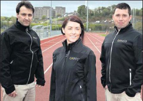 Pictured at the international standard running track at IT Sligo are: Dr Carlos Gonzalez, former first team physiologist for Real Madrid and Head Physiologist with ORRECO; Clodagh Watters, ORRECO; and Dr Brian Moore, Founder and MD of ORRECO.