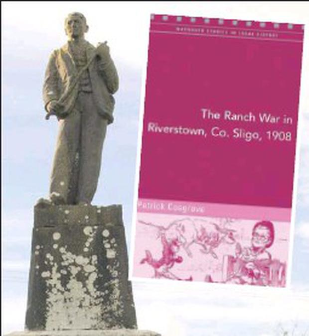 Above: the monument to John Stenson at Riverstown and inset, the new book which features John Stenson, 'The Ranch War in Riverstown'.
