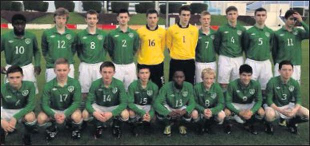 Cory Chamber (No. 1) and Conor Levingstone (No. 14) with the Ireland U-15 squad in Qatar.