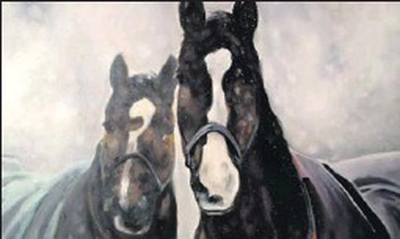 HERE'S LOOKING AT YOU: The equine painting that will be up for auction.