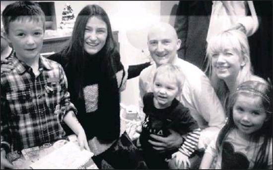 Conor Glynn, Olympic gold medallist Katie Taylor, John Glynn with Gavin, Jane and Lucy at the 'Aoibhheann's Pink Tie' Christmas Party last Sunday, in aid of families affected by cancer.