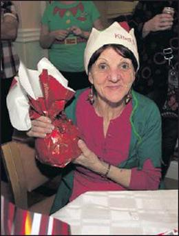 Sheila Nolan at the Blainroe Nursing Home Christmas Fair with the proceeds going to the Peter McVerry Homeless Trust.
