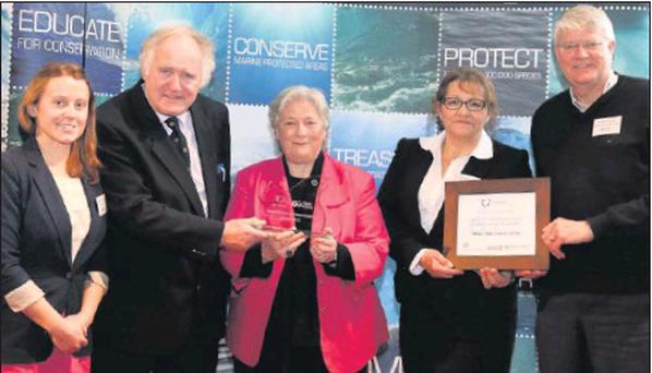 At the Clean Coasts Symposium and Coastcare Merit Awards. Michelle O'Sullivan of An Taisce, Paul Leahy of Brittas Bay Coastcare, Olivia Crossan of Taisce, and Bernadette Kilfeather and Michael Hourie of Brittas Bay Coastcare.