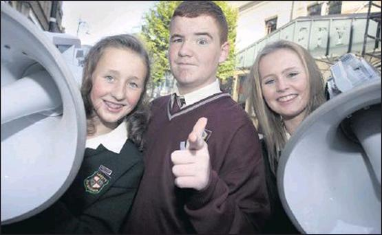 Josh O'Connell from St. Kilian's Community College, Bray, with Orla Moule and Cara Devlin, from St Loreto College, Balbriggan.
