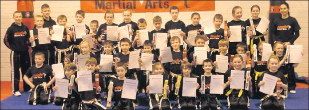 Eagle Martial Arts students from Bray and Arklow who passed their grades and moved up a level to receive their next belt at the end of year grading on Saturday, with instructors Julie Mchale, Barry Coughlan and James Stuart. Well done to all.